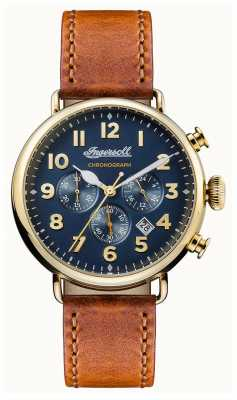 Ingersoll Mens Chronicle The Trenton Brown Leather Strap Blue Dial I03501