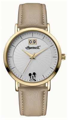 Ingersoll Womens Union The Disney Beige Leather Strap Silver Dial ID00503