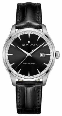Hamilton Mens Jazzmaster Black Leather Strap Black Dial H32451731