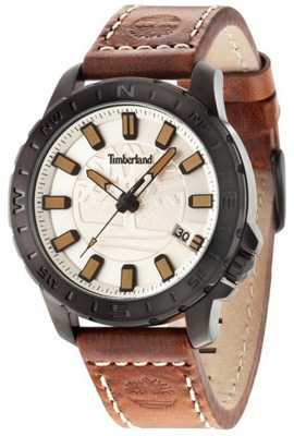 Timberland Mens Wayland Brown Leather Strap Beige Dial 14647JSB/07