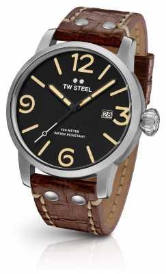 TW Steel Mens Maverick Black Sandwich Dial Dark Brown Leather Strap MS2