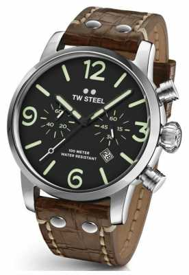 TW Steel Mens Maverick Sandwich Dial Chronograph Light Brown Leather MS14