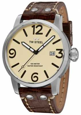 TW Steel Mens Maverick Cream Sandwich Dial Brown Leather Strap 48mm MS22