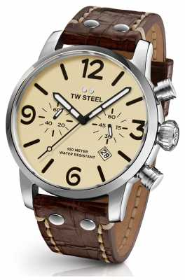 TW Steel Mens Maverick Cream Sandwich Dial Chronograph Brown Leather MS24