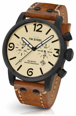 TW Steel Mens Maverick Cream Sandwich Chronograph Dial Brown Leather MS44