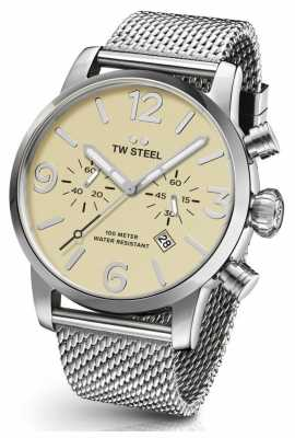 TW Steel Mens Maverick Steel Mesh Strap Cream Chronograph 48mm MB4