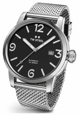 TW Steel Mens Maverick Black Dial Steel Mesh Strap 48mm MB12