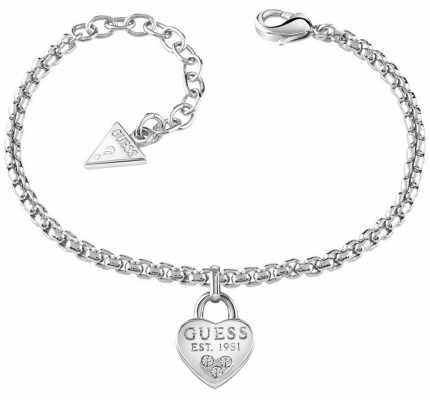 Guess Womans All About Shine 1981 Padlock Heart Bracelet UBB82104-L