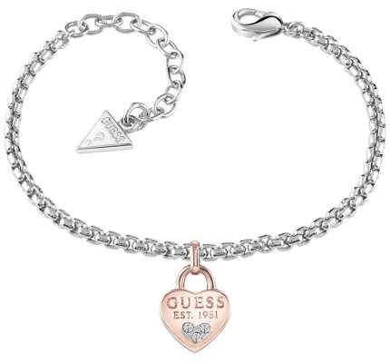 Guess Womans All About Shine 1981 Padlock Heart Rose Gold Bracelet UBB82105-L