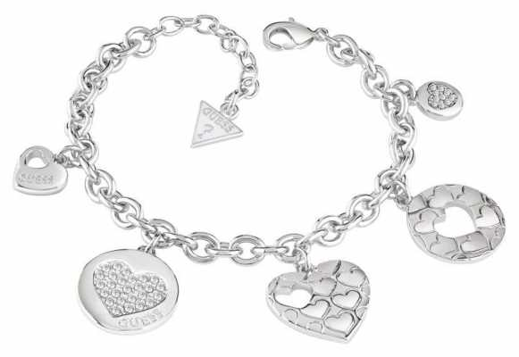 Guess Womans Heart Devotion Multicolour Heart Charm Bracelet UBB82048-L