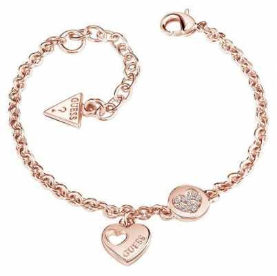 Guess Womans Heart Devotion Sparkle Heart Coin Bracelet Rose Gold UBB82059-L