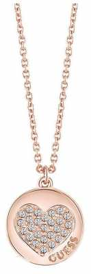 Guess Womans Heart Devotion Sparkle Heart Coin Necklace Rose Gold UBN82052