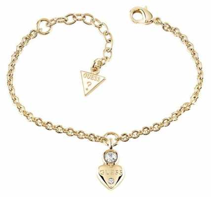 Guess Womans Guessy Little Heart Charm Bracelet Gold UBB82011-L