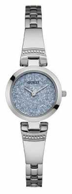Guess Womans Lulu Silver Strap Round Blue Dial W0890L1
