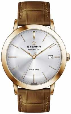 Eterna Mens Eternity Automatic Silver Brushed Dial Brown Leather St 2700.56.11.1391