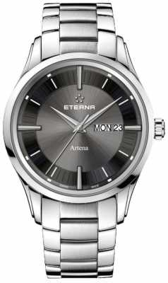 Eterna Mens Eternity Artena Quartz Brushed Black Dial 2525.41.50.0274