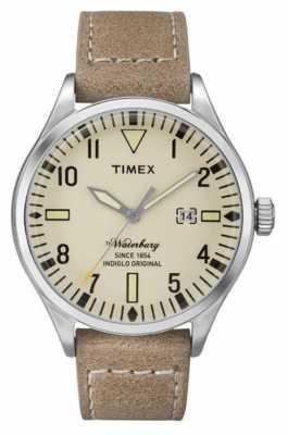 Timex Mens Waterbury Beige Leather Strap Cream Dial TW2P83900