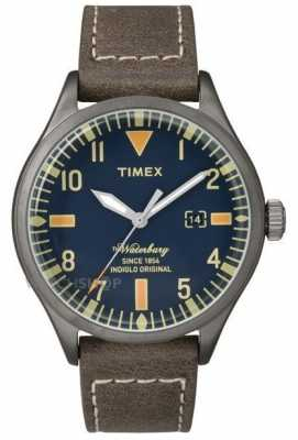 Timex Mens Waterbury Brown Leather Strap Navy Dial TW2P83800