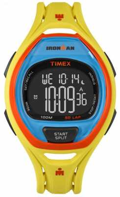 Timex Mens Indiglo Iron Man Sleek Alarm Chronograph Yellow Orange TW5M01500