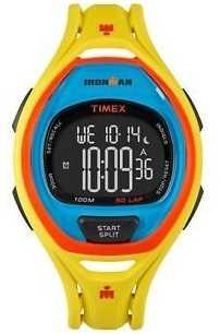 Timex Mens Indiglo Iron Man Sleek Alarm Chronograph Yellow Orange TW5M01500