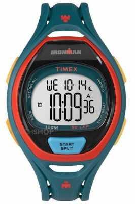 Timex Mens Indiglo Iron Man Sleek Alarm Chronograph Dark Green TW5M01400