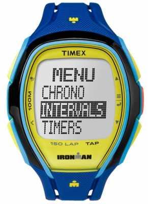 Timex Mens Indiglo Iron Man Sleek Alarm Chronograph Blue Yellow TW5M00900