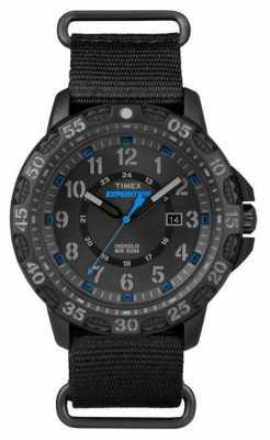 Timex Mens Gallatin Black Fabric Strap Black Dial TW4B03500