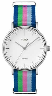 Timex Ladies Weekender Fairfax Blue Pink Green Strap TW2P91700