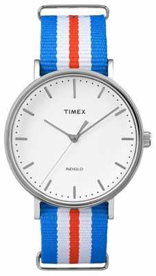 Timex Unisex Weekender Fairchild White Blue Orange Strap TW2P91100