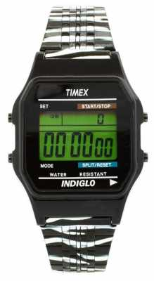 Timex Unisex Alarm Chronograph Black White Strap T2N785