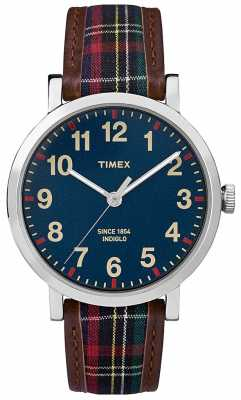 Timex Unisex Dark Blue Dial Patterned Leather Strap TW2P69500