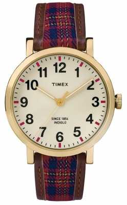 Timex Unisex Cream Dial Patterned Leather Strap TW2P69600