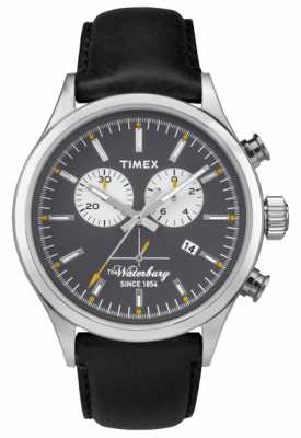 Timex Mens The Waterbury Chronograph Black Leather Strap TW2P75500