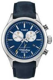 Timex Mens The Waterbury Chronograph Blue Leather Strap TW2P75400