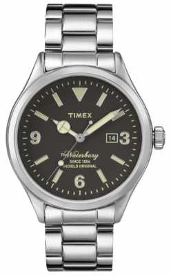 Timex Mens The Waterbury Silver Stainless Steel Strap Black Dial TW2P75100