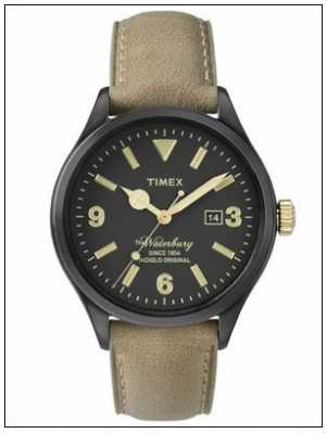 Timex Mens The Waterbury Beige Leather Strap Black Dial TW2P74900