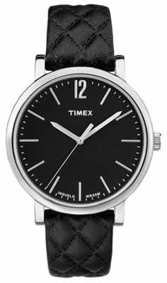 Timex Womans Black Quilted Leather Strap Black Dial TW2P71100