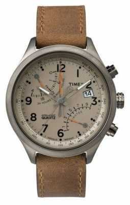 Timex Mens Flyback Chronograph Brown Leather Strap TW2P78900