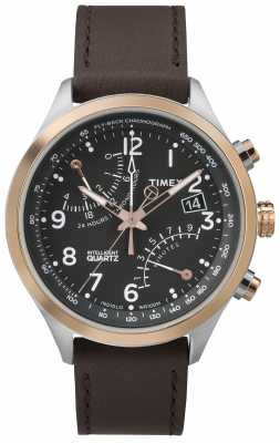 Timex Mens Flyback Chronograph Black Dial Rose Gold Tone Case TW2P73400