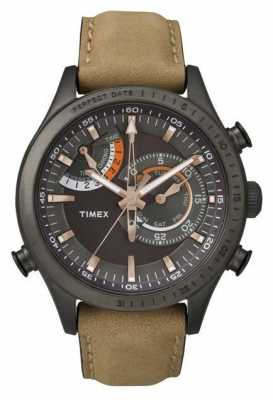 Timex Mens Chronograph Timer Brown Leather Strap TW2P72500