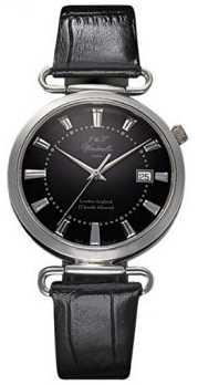 J&T Windmills Mens Throgmorton Mechanical Watch Black Dial Sterling Silver WGS10005/04