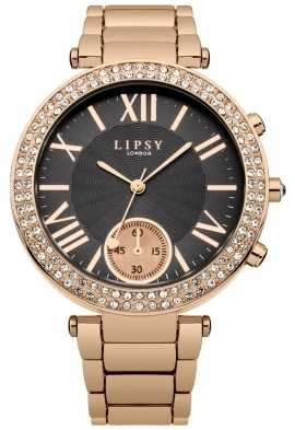 Lipsy Womens Rose Gold Plated Stainless Steel Bracelet Black Dial LP466