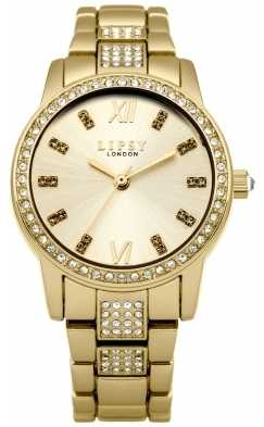 Lipsy Womens Gold Plated Stainless Steel Bracelet Gold Dial LP463