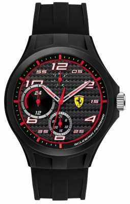 Scuderia Ferrari Mens Lap Time Black Rubber Strap Black Dial 0830290