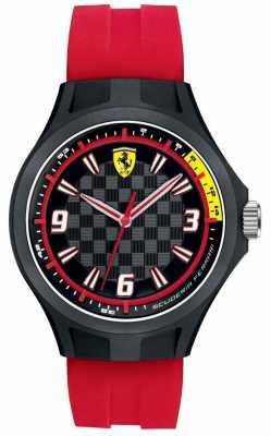 Scuderia Ferrari Mens Pit Crew Red Rubber Strap Black Dial 0830282
