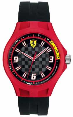 Scuderia Ferrari Mens Pit Crew Black Rubber Strap Red Case 0830284