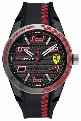 Scuderia Ferrari Mens Red Rev T Black Rubber Strap Black Dial 0830336