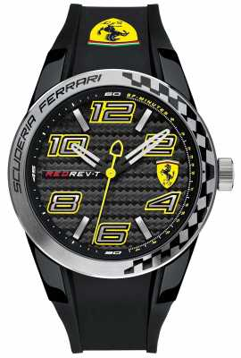 Scuderia Ferrari Mens Red Rev T Black Rubber Black Dial 0830337