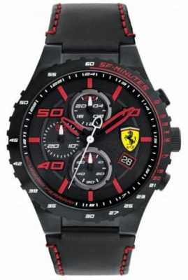 Scuderia Ferrari Mens Speciale Evo Black Leather Strap Black Dial 0830363