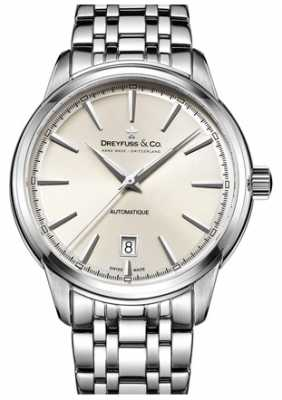 Dreyfuss Mens 1890 Automatique Stainless Steel Bracelet White Dial DGB00160/32